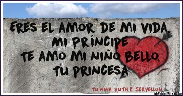 Eres el amor de mi vida.            Mi Príncipe  Te amo mi niño bello.         Tu princesa