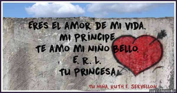 Eres el amor de mi vida.          Mi Príncipe  Te amo mi niño bello.              E. R. L.         Tu Princesa